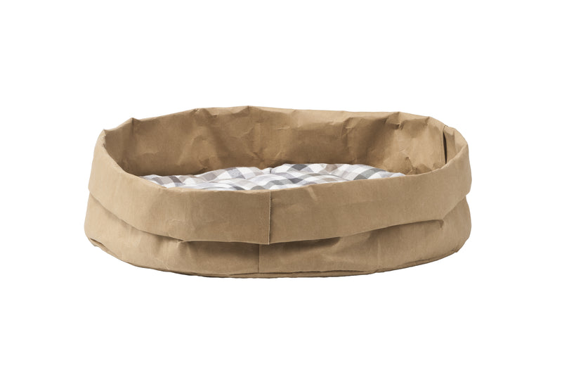 Eco bed for pets – BROWN cellulose fiber, with cotton cushion - World Pet Lovers