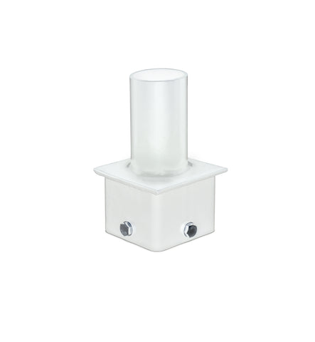 "4"" Square Pole Mount Tenon with 2-3/8"" O.D. Round Tenon Pole Top Adapter- WHITE"