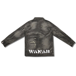 WANAB Reflective Logo Denim Jacket - Black
