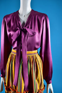 Yves Saint Laurent Silk Bow Blouse - Rianna In Berlin