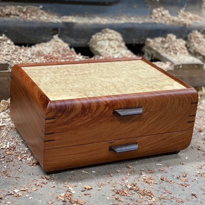 SELECT Sophisticated Jewelry Chest Bubinga with Tamo ash lid