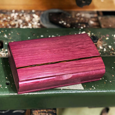 Charming Cherry Red-Hot Padauk Velvet-Lined Jewelry Box with Pretty Birdseye Maple or Royal Purple Heart Lid