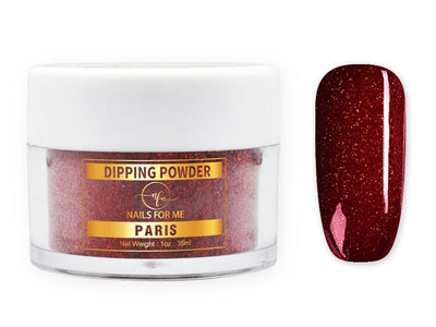 Burgundy glitter nail dip powder