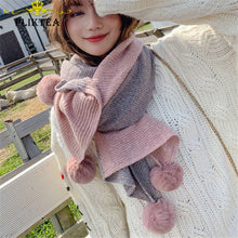 Load image into Gallery viewer, Patchwork Pom Scarf