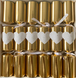 6 Hearts & Flowers Gold and White Crackers