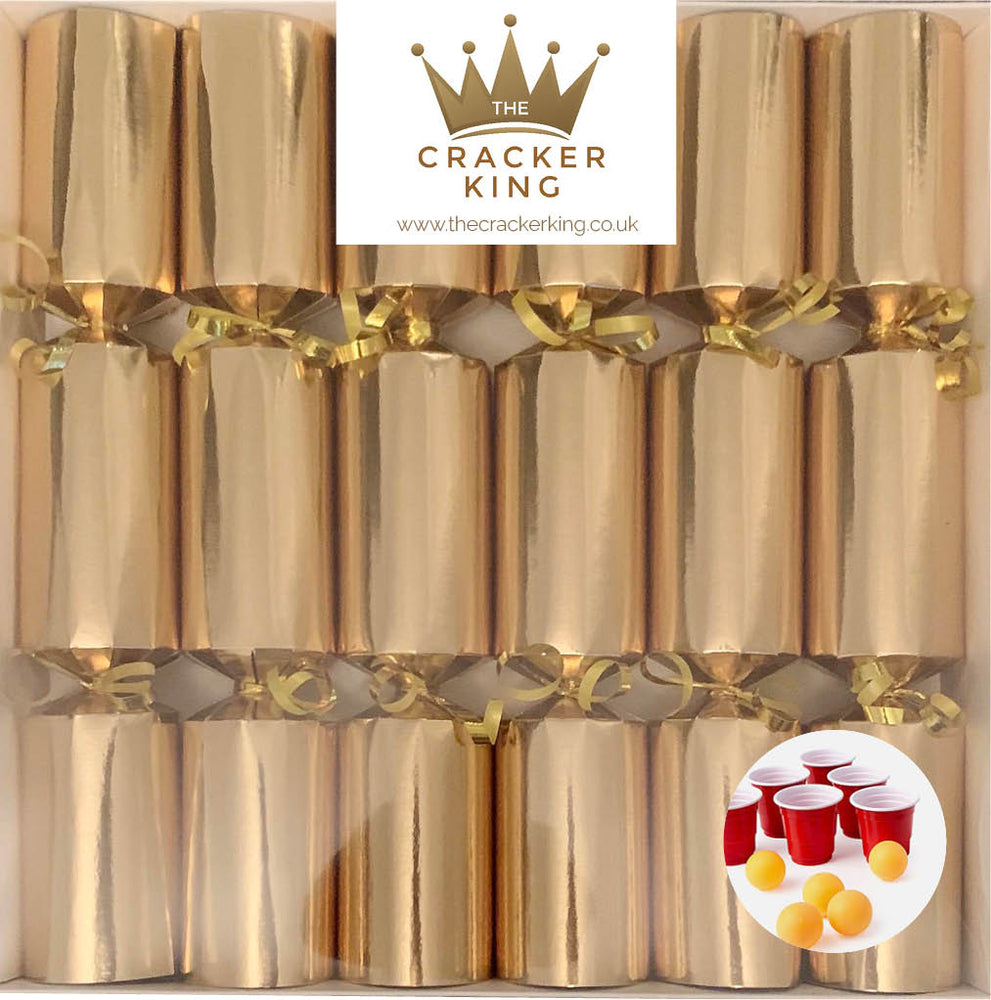 6 Mini Beer Pong Game Crackers - Gold