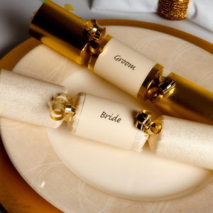6 Gold and Ivory Wedding Crackers