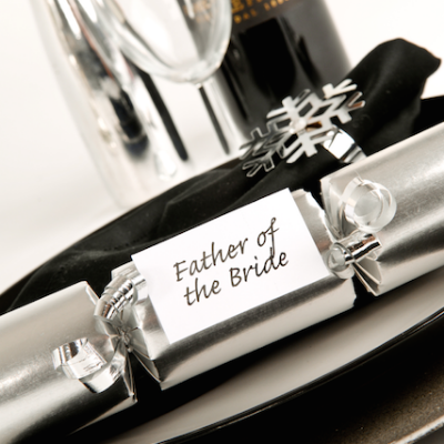 6 White and Silver Wedding Crackers
