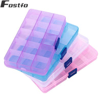 10/15 Slots Jewelry Box Adjustable Plastic Storage Box Transparent Rectangle Case Organizer Boxes For Handmade Packing Jewelry