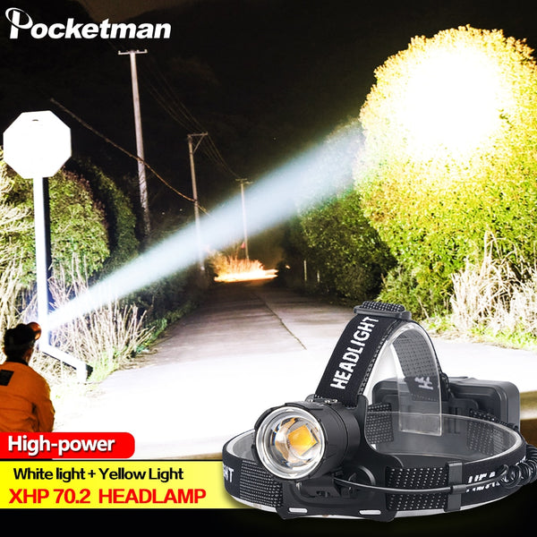100000LM XHP70.2 Led Headlamp XHP70 Yellow White Led Headlight Fishing Camping Zoom USB Rechargeable Torch Use 3*18650 batteries