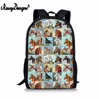 3d Animal Horse Painting Children School Bag for Teenager Boys Girls Cool Schoolbag Kids Men Travel Backbag Pencil Drop Shipping
