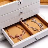 FANXI Solid Wooden Jewelry Box Four Layer Ring Earring Box Case Drawer Jewelry Storage Box with Make Glass