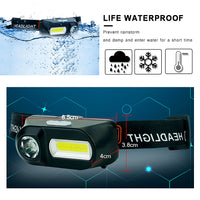 Headlamp USB Rechargeable XPE+COB Headlight Head Lamp Light 6 Mode Flashlight Head Torch Led 18650 Battery Lantern on Forehead