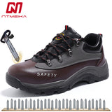 Men's Cow Leather Safety Shoes Steel Toe Work Shoes Low Cut Large Size 35 45 MB246