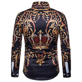 Palace Crown Printed Shirt Men 2018 Brand New Long Sleeve Mens Dress Shirts Men Casual Business Slim Fit Chemise Homme