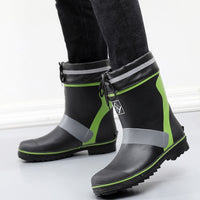 Size 46 Mid Calf Rubber Rain Boots For Men Flat Fishing Shoes Shallow Waterproof Shoes Fashion Men's Water Boots Rain Shoes F61