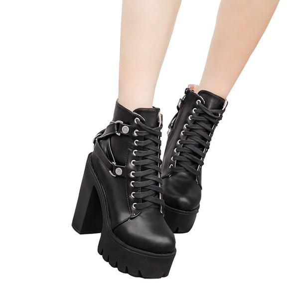 Black Boots Women Heel Spring Autumn Lace-up