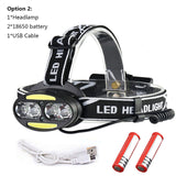 Headlight 30000 Lumen headlamp 4* T6 +2*COB+2*Red LED Head Lamp Flashlight Torch Lanterna with batteries charger