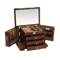 Jewelry Storage Box Wooden Creative Double Door One Lock Jewelry Box Bracelet Earrings Necklace Multi function Storage Box