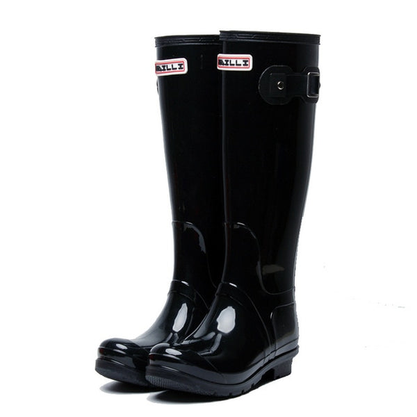 Rubber Rainboots Tall Rain Boots for Women British Classic Waterproof Rainboots Ladies Wellies Wellington Matte Boots F54