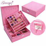 Guanya Brand Large Best Selling Linen Fabric Square Jewelry Simple layout Box Makeup Jewelry Gift Box organizer Display Case
