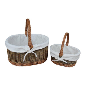 White Cotton Lined Country Oval Wicker Shopping Baskets