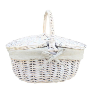 White Wash Finish Oval Wicker Picnic Basket