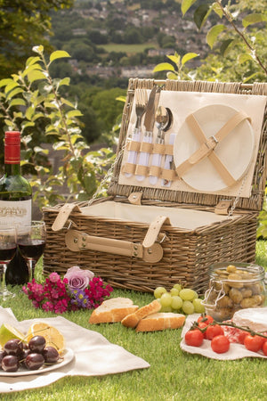 35cm 2 Person Fitted Wicker Picnic Basket