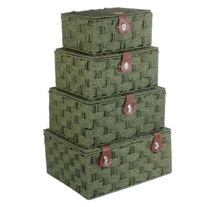 Forest Green Woven Paper Rope Hamper