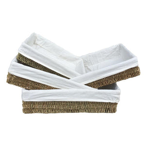 Cotton Lined Rectangular Seagrass Tray