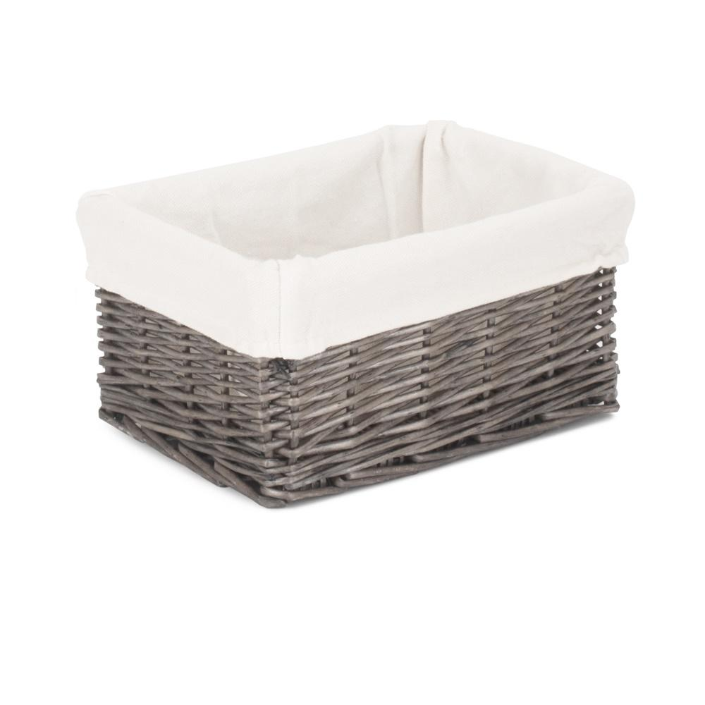 Cotton Lined Antique Wash Finish Wicker Tray