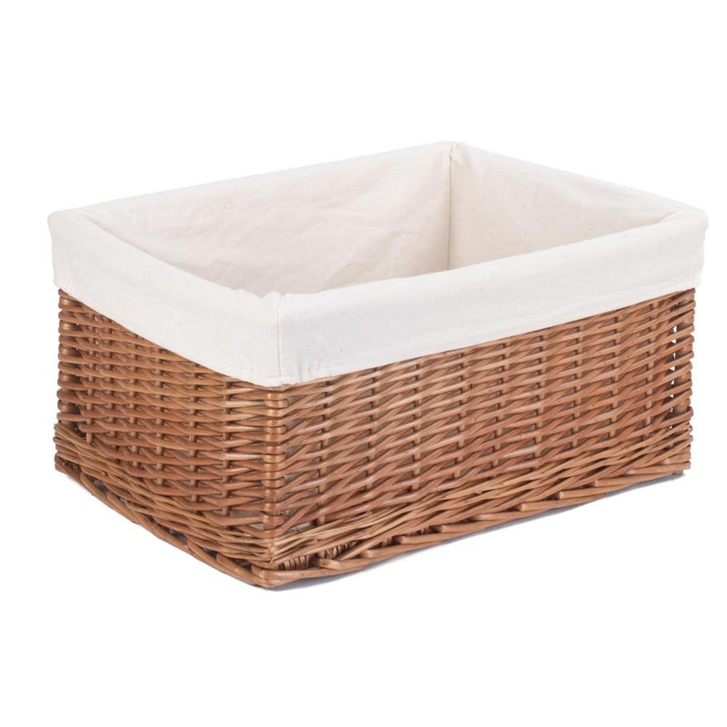 Cotton Lined Double Steamed Storage Wicker Basket
