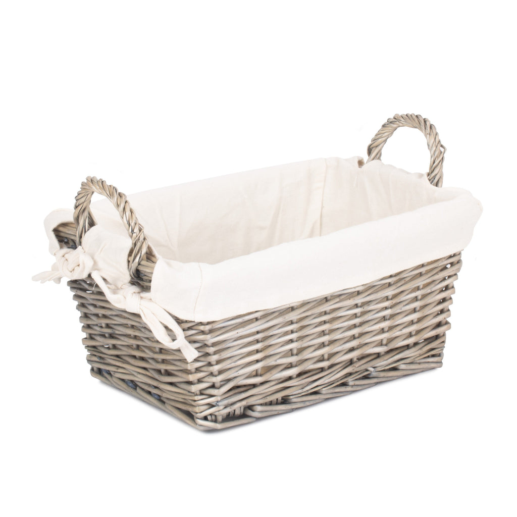 Antique Wash Wicker Handled Lined Storage Basket