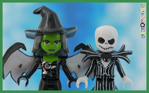 I painted only the Evil Witch's skin (preserving the original eyes), whereas Jack got the complete make over
