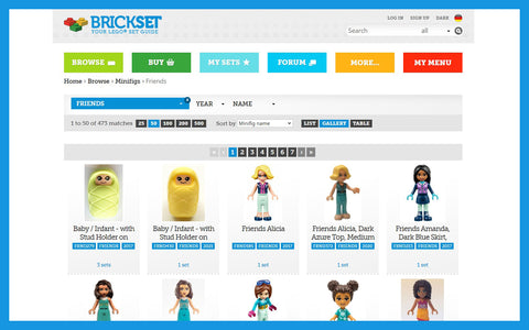 You can browse all of the minidolls by theme on Brickset