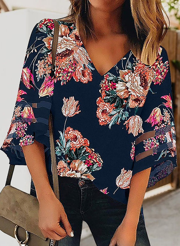 Floral Flare Sleeve V Neck Loose Blouse