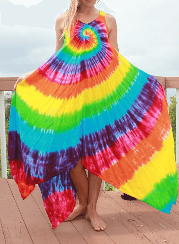 Sleeveless Tie-dye Irregular Maxi Dress
