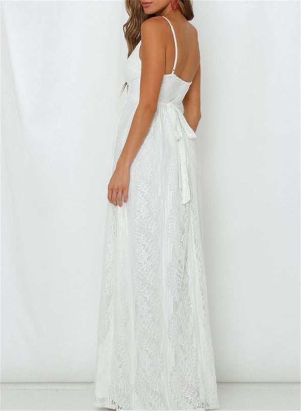 Spaghetti Tunic White Lace Maxi Dress