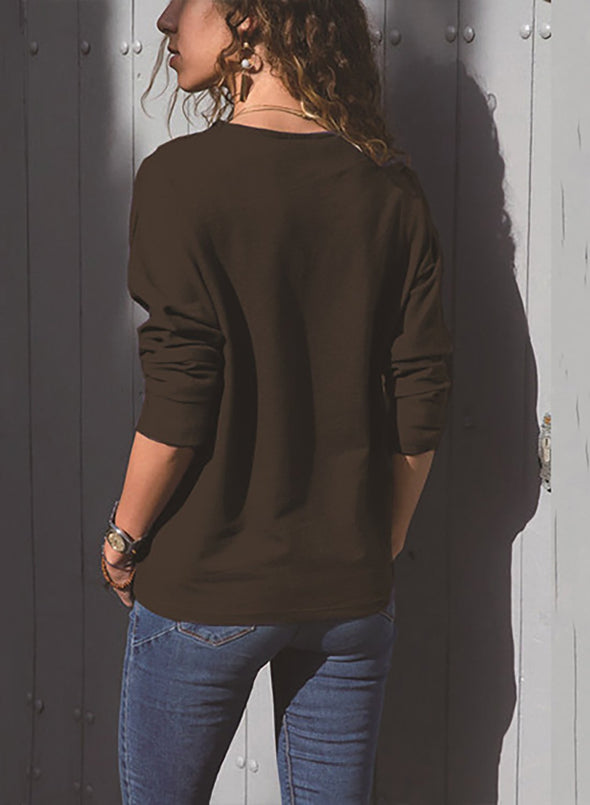 Long Sleeve Color Block Casual Tops