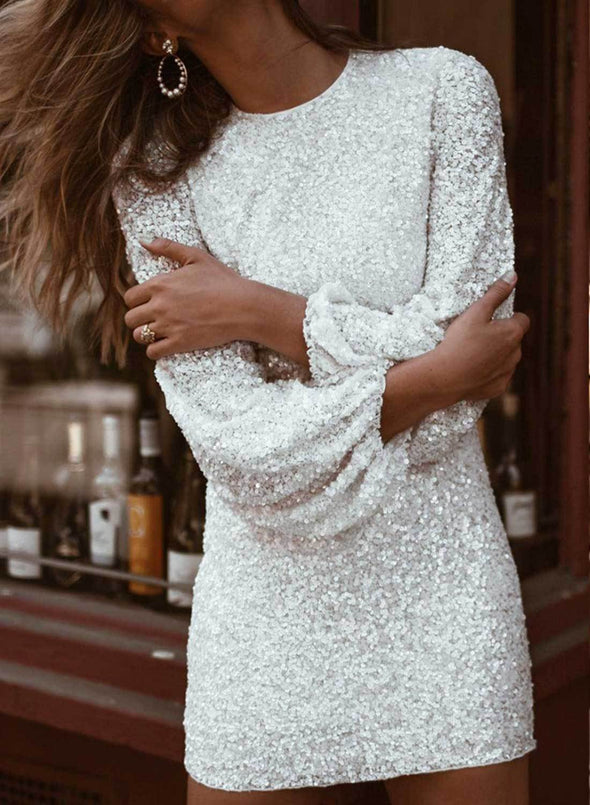 Long Sleeve Sequin Mini Party Dress