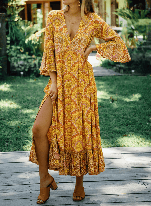 Ruffled Exotic Floral Maxi Dress