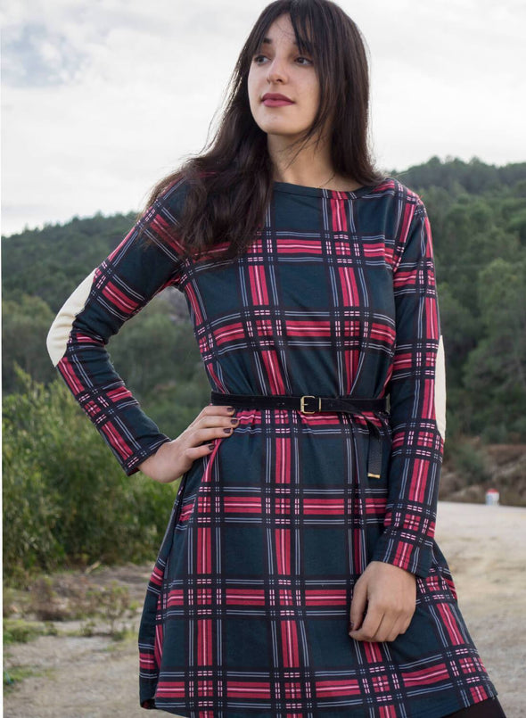 Contrast Elbow Patch Red Plaid Swing Dress(LC220515-9-1)