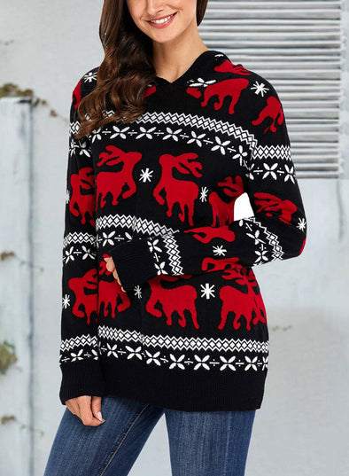 Cute Christmas Reindeer Knit Hooded Sweater