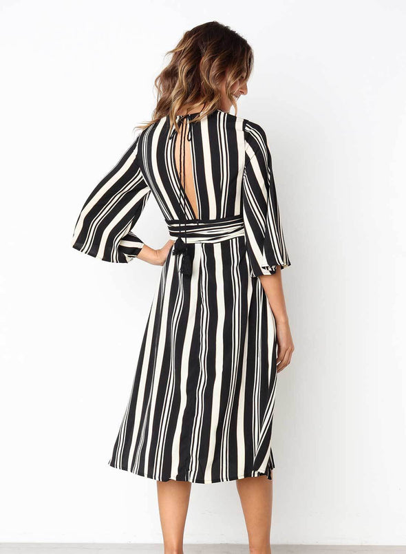 Gap Striped V Neck Midi Dress