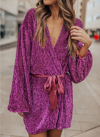 Fashion Deep V Neck Sequin Mini Dress
