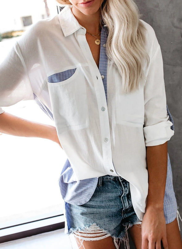 Striped Contrast Button Down Blouse
