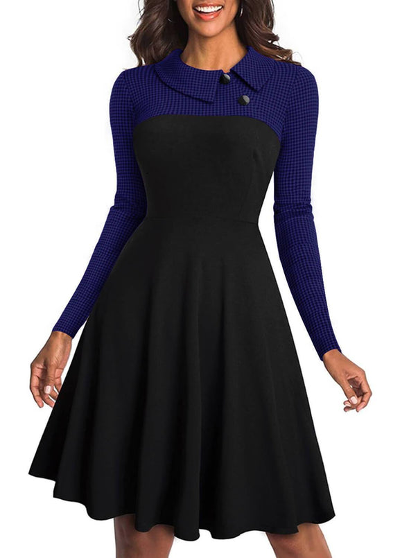 Color Block Vintage A-line Dress (LC610898-5-1)