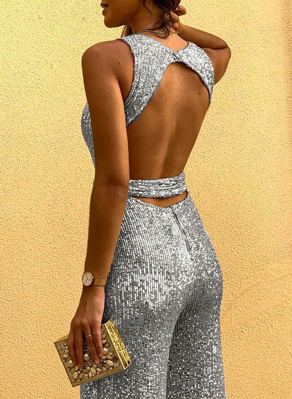 Waist Tie Sleeveless Sexy Sequin Jumpsuit