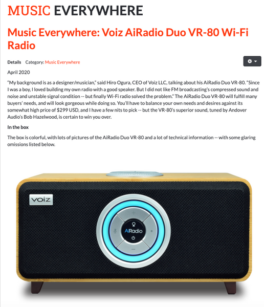 SoundStage Xperience Music Everywhere Review: Voiz AiRadio Duo VR-80 Wi-Fi Radio