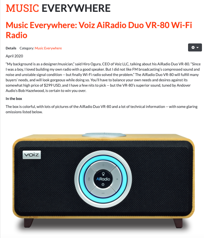 SoundStage Xperience Music Everywhere Review Voiz AiRadio Duo VR-80
